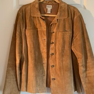 Tan leather button up jacket